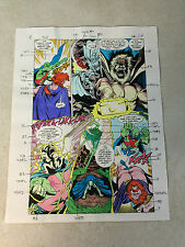 JUSTICE LEAGUE EUROPE #31 ORIGINAL ART color guide MANHUNTER + FIRE BATTLE THOR