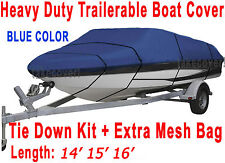14' 15' 16' V-Hull Fish - Ski Boat Cover Trailerable blue color FT BS