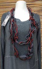 *ZUZA BART*DESIGN LINEN AMAZING BEAUTIFUL NECK SCARF NECKLACE*GREY/RED/BLACK*
