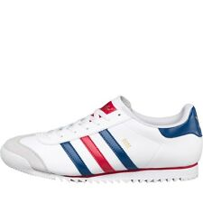 MENS ADIDAS ORIGINALS ROM LEATHER TRAINERS - UK SIZE 12 - WHITE/BLUE/RED.