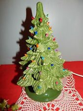 "Vintage 10"" BEAUTIFUL Lighted Green Ceramic Christmas Tree w/Base & Peg lights"