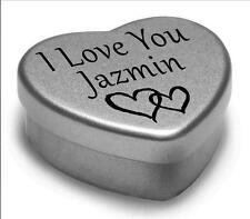I Love You Jazmin Mini Heart Tin Gift For I Heart Jazmin With Chocolates
