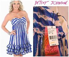 Sz 10 BETSEY JOHNSON TEA PARTY RUFFLE PARTY STRAPLESS LACE DRESS NWT $298