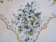 Vintage Pretty Gold & Gray Pansy Bouquet Corners Scalloped Hankie Handkerchief