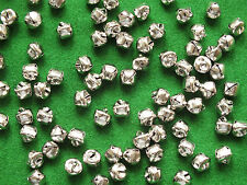 100 x SILVER Jingle Bells 10mm Cat Bells Christmas Charm Toys Jewellery Craft UK