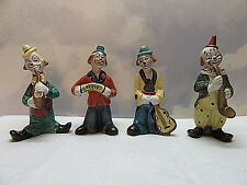 "4 Vintage Porcelain Clown Figurines Royal Coronet Dan Brechner Taiwan 5"" Cute"