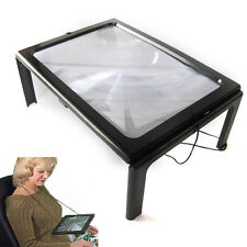 A4 Full Page Large Hands Free Magnifier Magnifying Glass Lens f Reading w/ Cord
