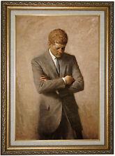 Shikler Portrait of President John F Kennedy 1970-Gold Lined Framed Canvas 16x22