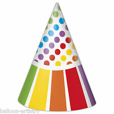 8 Rainbow Colours Children's Birthday Party Paper Cone Hats