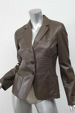 PRADA Womens Taupe Leather Long-Sleeve Two-Button Blazer Jacket Coat 42/6
