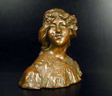 Gustave VAN VAERENBERGH Buste art nouveau 1900 jeune femme au bandeau 15cm 1,4kg