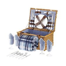 VonShef 4 Person Wicker Picnic Basket Hamper Set with Flatware, Plates and Wine