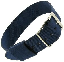 16mm Sport Strap Wrap Thin Nylon Buckle Navy Blue Replacement Watch Band
