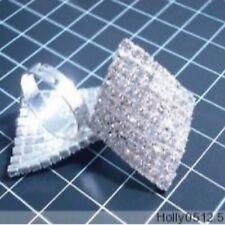 Large Diamonte / Diamante Crystal Silver Tone Diamond Shape Ring - NEW!!