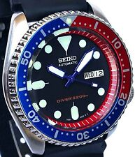 Vintage SEIKO 7S26 PEPSI diver SKX mod w/BLUE Plongeur hands & RED Chapter Ring!