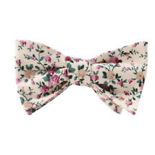 100% LINEN & COTTON CREAM FLORAL SELF TIE BOW TIE MEN'S SELF-TIE UNTIED BOW TIE