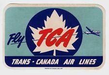 TCA Trans-Canada Air Lines Baggage Label (Gummed) c.1950s =