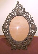 very large 1800s antique knight medieval ornate oval bronze table picture frame