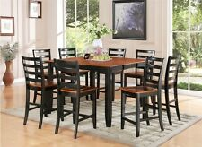 7PC DINETTE COUNTER HEIGHT SET INCLUDE TABLE & 6 WOOD SEAT CHAIRS BLACK & CHERRY