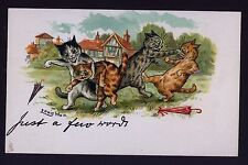 """MINT..! WAIN.. FIGHTING CATS, """"JUST A FEW WORDS"""" TUCK,CHROMOLITHOGRAPH POSTCARD"""