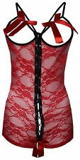 Women's Lingerie Sexy Open Cup Crotchless Lace Teddy S/M Red