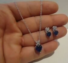 SILVER HEART NECKLACE PENDANT & EARRING SET W/ 5.75 CT ACCENTS & TANZANITE