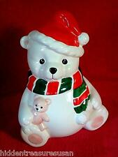 Homco 1991 White Bear Christmas Cookie Jar 10 inches