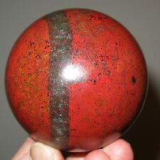 Intensely red 77 mm Sonora sunrise cuprite chrysocolla sphere from Mexico