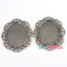 1x Silver Plated Oval Base Plate Findings diy Necklace Photo Jewelry 56*46mm