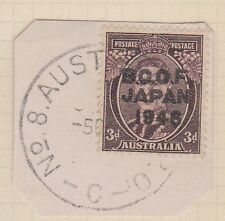 (TIC186) 1946 AU Japan 3d brown KGV BCOF on piece F/U