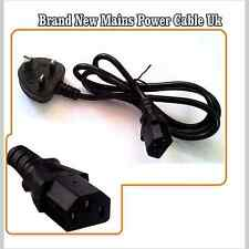 NEW MAINS POWER CABLE FOR COMPUTER MONITOR KETTLE LCD TV LEAD 3 PIN 120cmLONG UK