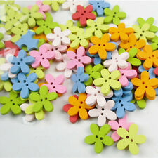 100pcs Colorful Flower Flatback Wooden Buttons For Kids Baby DIY Sewing Craft