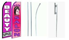 Beauty Supply Hair Salon King Size  Swooper Flag Sign  W/Complete 2 Full Set