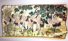 Vtg Swans Wall Velveteen Tapestry Rug Egret Birds Vibrant Colors MCM