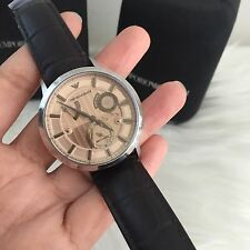 NWT! Emporio Armani AR4665 Men's Meccanico Leather Automatic Watch $395