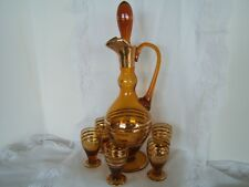 Vintage~ Amber Glass~ Liquor Sherry Decanter and Glasses~Romania