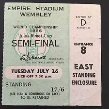 World Cup 1966 Ticket July 26 England V Portugal SEMI