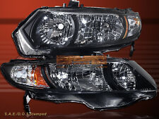 2006 2007 2008 2009 2010 2011 2 Door Coupe Honda Civic Black Housing Headlights