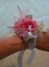 Wrist Corsage Boutonniere Pink White Artificial Roses Prom Wedding 2 Piece