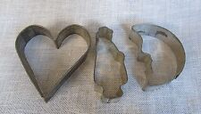 Antique Tin  Lot of 3 Vintage Metal Cookie Cutters Heart Moon Man
