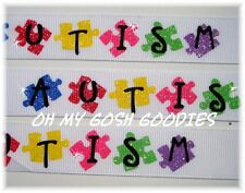 7/8 GLITTER AUTISM AWARENESS GROSGRAIN RIBBON AUTISTIC PUZZLE 4 HAIRBOW BOW