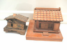 "Oriental Style Carved Wood Model Of House On Base 7""L With Musical House 5""L"