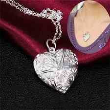 Stylish Women Silver Love Heart Valentine Lover Locket Chain Pendant Necklace