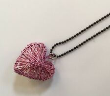 Woven Wire PINK HEART Pendant Necklace Jrs TEEN Black Ball Chain  18""