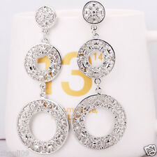Fashion show women Statement Silver gold filled long Ear Studs earrings hot