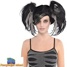 ZOMBIE MUMMY BLACK MESSY BUNCHES WIG HALLOWEEN ladies womens fancy dress costume