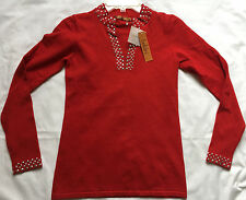 new Belldini 105240 Bling Red Knit Pull-Over Split Neck Top Sweater Women's S