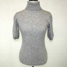 Amici 2-Ply 100% Cashmere Sweater Gray Turtleneck Short Sleeves w Sparkles M