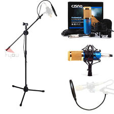 Cisno Blue Condenser Microphone Mic Studio Recording Mic with Boom Stand+Filter