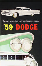 1959 Dodge Owners Manual 59 Coronet Lancer Royal Sierra Owner Operating Guide